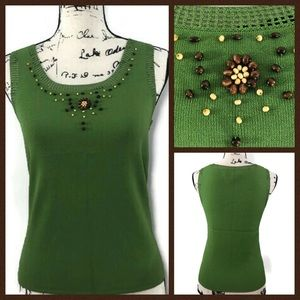 Cable and Gauge Fine Knit Embellished Top